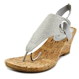 White Mountain Aida Open Toe Canvas Wedge Heel