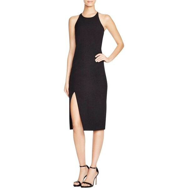 Bardot Womens Cocktail Dress Side Slit Criss-Cross Back