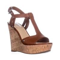 Marc Fisher Helma Platform Wedge Sandals Dark Brown Leather - 8.5 b(m)