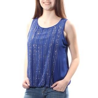 Womens Blue Sleeveless Jewel Neck Top Size 4
