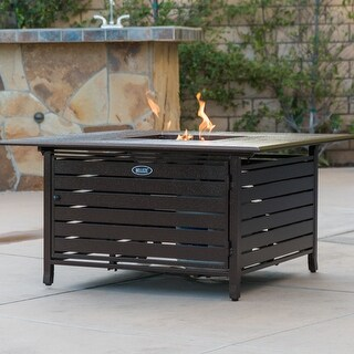 Belleze 40,000 BTU Square Rust-Resistant Gas Outdoor Propane Fire Pit Table Aluminum with Doors and Cover - Bronze