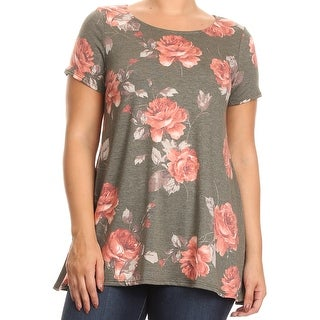 Women - Plus Size Short Sleeve Rose Floral Printed Jersey Tunic Knit Top Tee Taupe