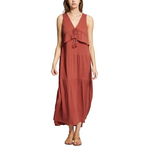 Sanctuary Red Women's Size Large L V-Neck Textured Maxi Dress