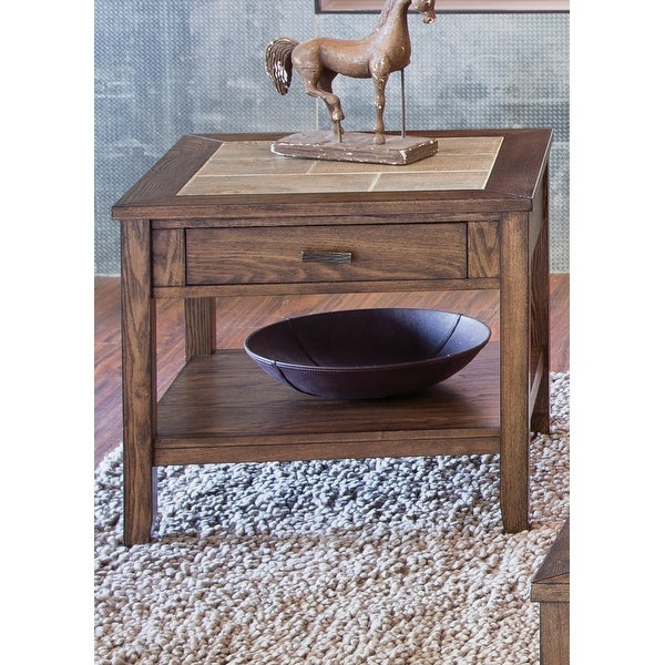 Mesa Valley Tobacco Ceramic Tile Top End Table. Opens flyout.