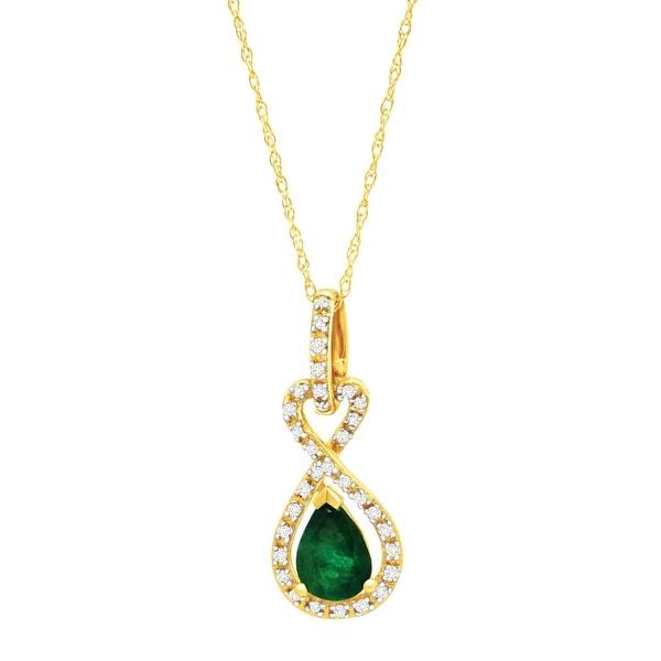 5/8 ct Natural Emerald & 1/10 ct Diamond Teardrop Pendant in 10K Gold - Green