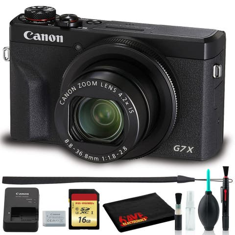 Canon PowerShot G7X Mark III Digital Camera (Black) with 16GB SD +