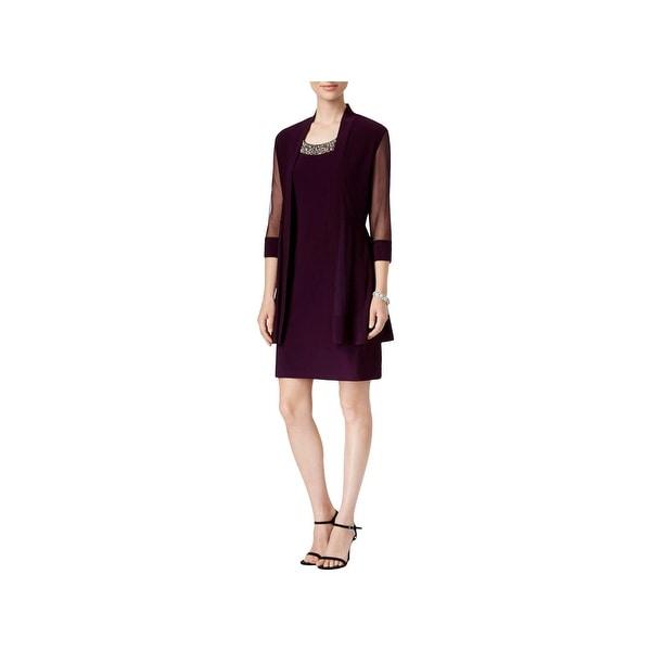 R&M Richards Womens Dress With Cardigan Illusion Embellished