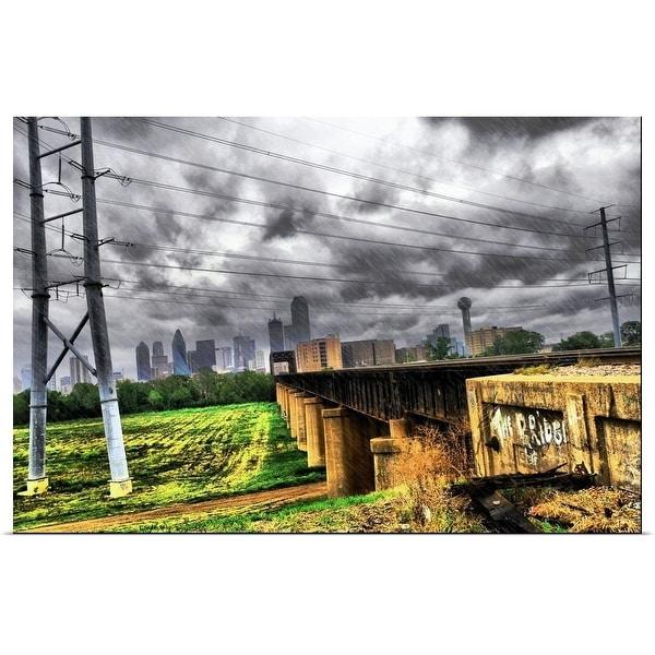"""Dallas, Texas Skyline During Hurricane Ike"" Poster Print"