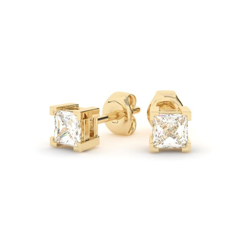 6c6baee5f Shop 1/2 CT 14KT Gold Princess Cut Four-Prong Basket Diamond Stud Earrings  - On Sale - Free Shipping Today - Overstock - 24100904
