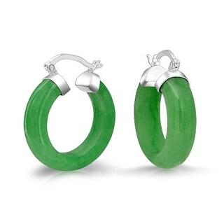 Bling Jewelry Small Dyed Green Jade Hoop Earrings 925 Sterling Silver Snap Back