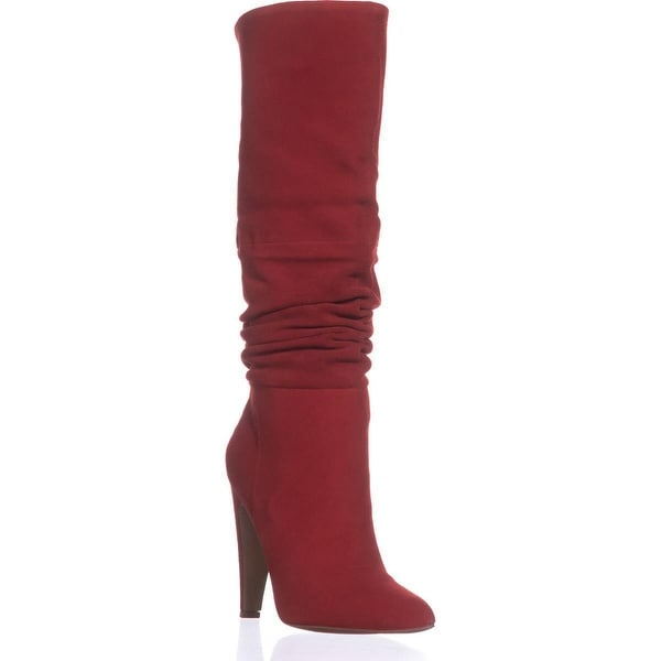 Steve Madden Carrie Heeled Knee High Boots, Red Suede
