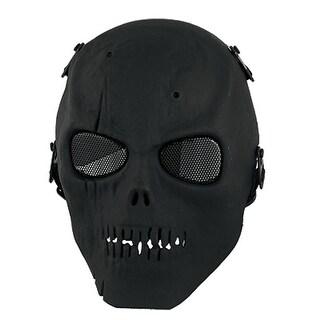 Unique Bargains Adults Black Elastic Adjustable Strap Metal Wire Mesh Eye Skull Full Face Mask
