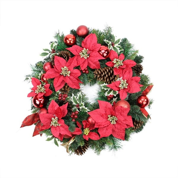 """24"""" Pre-Decorated Red Poinsettia, Pine Cone and Ball Artificial Christmas Wreath - Unlit"""