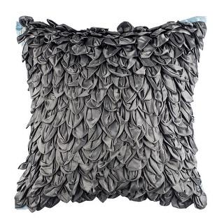 100% Handmade Imported Loose Leaves Pillow Cover, Dark Grey, Light Blue Trim