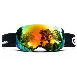 ODOLAND Anti-Fog Ski Goggles Snowboard Goggles w/ Magnetic Detachable Lens Double Spherical Lens Black