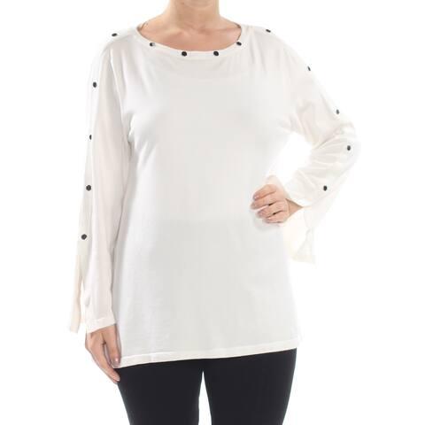 ALFANI Womens White Embellished Pullover Long Sleeve Jewel Neck Sweater Size: L