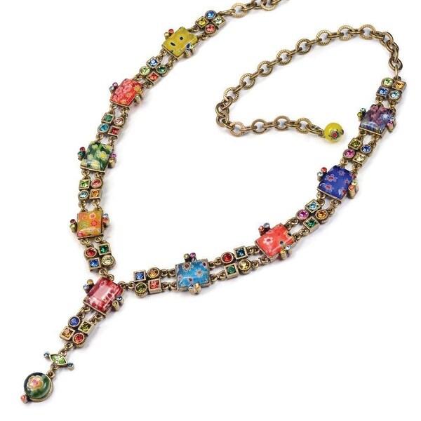 """Women's Colorful Millefiore Necklace - Bezel Set Jewels - Measures 16"""" - 20"""""""