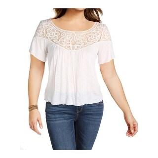 Denim & Supply Ralph Lauren Womens Pullover Top Burnout Lace Trim