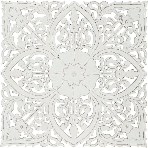 Barclay Hand Carved White Floral 35-inch Square Wall Panel