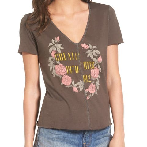 Project Social T Gray Womens Small Greatest Hits Floral Tee T-Shirt