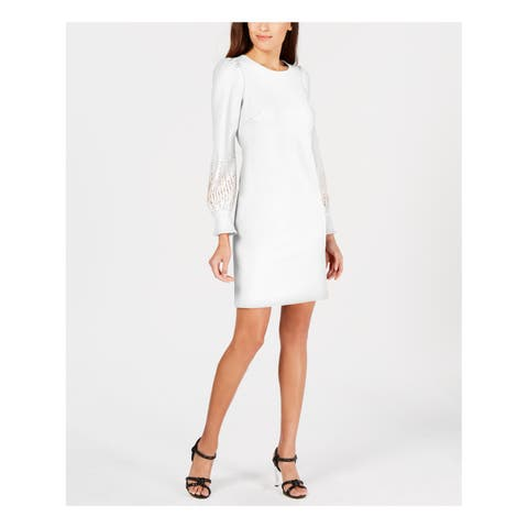 CALVIN KLEIN Womens Ivory Embellished Puff Sleeve Long Sleeve Jewel Neck Above The Knee Sheath Wear To Work Dress Size: 14