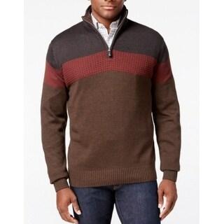 Tricots St Raphael NEW Brown Mens Large L Colorblock Mock Neck Sweater