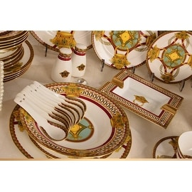 Luxury Design European Royal Bone China Dinnerware Set 69 piece service for 6
