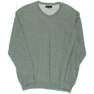 John Ashford Mens Heathered V-Neck Pullover Sweater