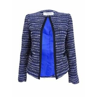 Tahari ASL Women's Petite Open-front Blazer Jacket - ivory/black/royal