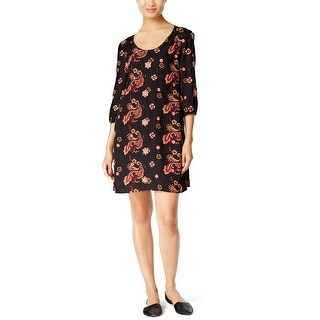 ECI Floral Embroidered Shift Dress Black/Red - s
