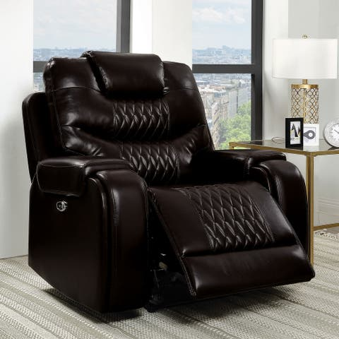 Furniture of America Baxe Transitional Faux Leather Recliner