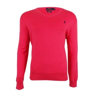 Polo Ralph Lauren Men's Slim-Fit V-Neck Sweater - tropical pink