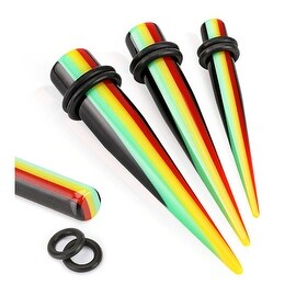 Rasta Striped Solid Acrylic Taper with O-Ring (Sold Individually)