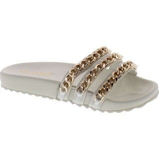 Liliana Nomi-2 Women Flip Flop Gold Chain Link Slide Slip On Flat Sandal Shoe Slipper White