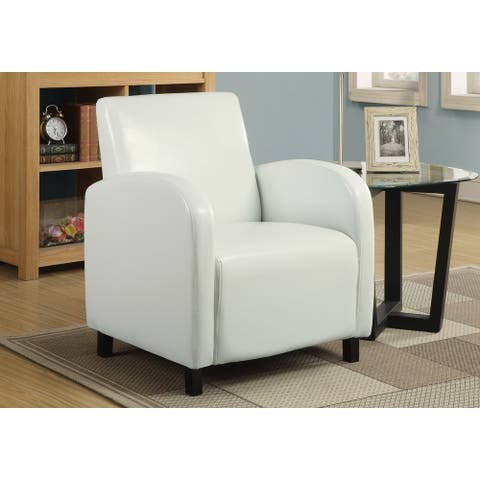 Monarch 8049 White Leather-Look Fabric Accent Chair