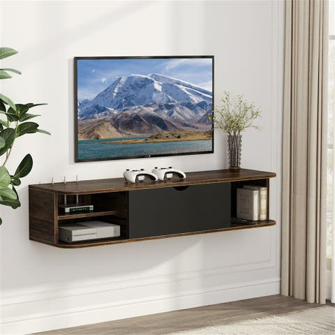 Wall Mounted Media Console with Door Floating TV Shelf