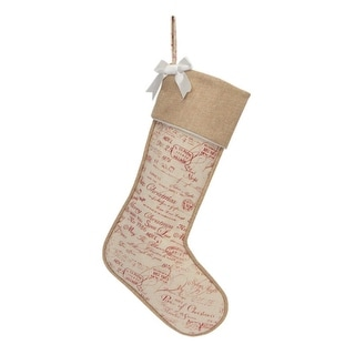 "20"" Natural Tan Christmas Stocking with Red Holiday Expressions and White Bow"