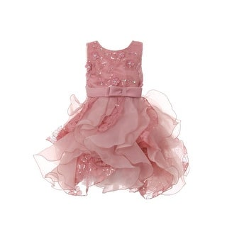 Baby Girls Rose Sequin Pearl Lace Tulle Ruffle Flower Girl Dress