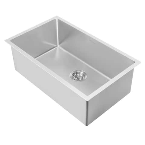 """Whitehaus WHNPL3318 Noah Plus 33"""" Single Basin Kitchen Sink for - Brushed Stainless Steel"""