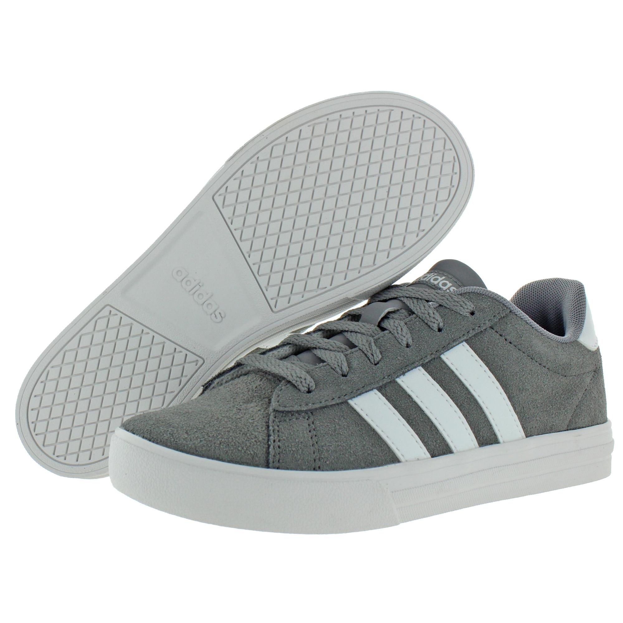 Adidas Girls Daily 2.0 K Skate Shoes Suede Athleisure - Grey/White