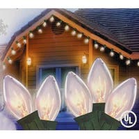 Set of 25 Transparent Clear C7 Christmas Lights - Green Wire