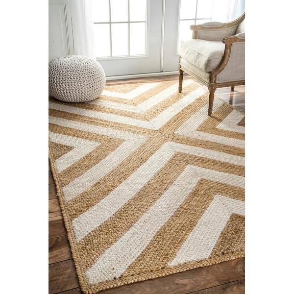 nuLOOM Natural Patterned Chevron Jute Area Rug. Opens flyout.