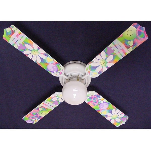 Peace Love Happy Face Print Blades 42in Ceiling Fan Light Kit - Multi