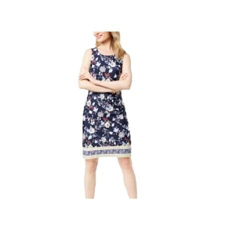 Charter Club Women's Print Sheath Dress Intrepid Blue Combo Size Medium