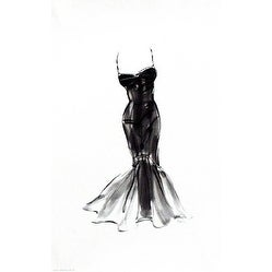 ''Black Dress with Flair'' by Tina Amico Fashion Art Print (16 x 10 in.)