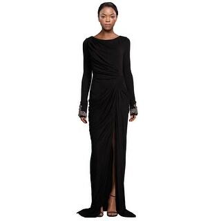 Badgley Mischka  Jersey Long Sleeve Beaded Cuff Evening Gown Dress - 4