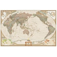 National Geographic RE01020327 World Executive - Pacific Centered Map