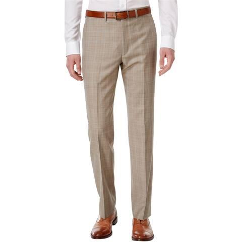 Ryan Seacrest Mens Windowpane Dress Pants Slacks, Beige, 30W x 32L - 30W x 32L