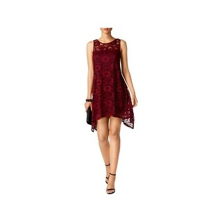 Signature By Robbie Bee Womens Petites Cocktail Dress Lace Overlay Hi-Low