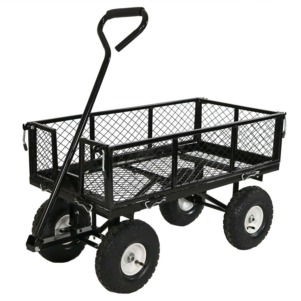 Sunnydaze Utility Cart with Removable Folding Sides, 400 Pound Weight Capacity - Multiple Colors - Thumbnail 29